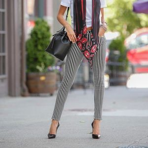 Rag & Bone Striped High Rise Ankle Skinny